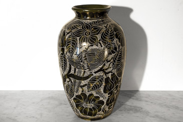 SOLD - Lourdes Martinez Hand Etched Ceramic Vase.