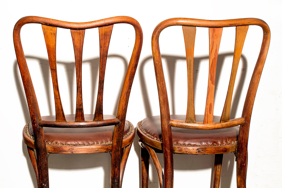 Vintage thonet style cafe chairs with stenciled seats - Sold Pair Of Rare Thonet Bistro Chairs With Leather Seats Circa