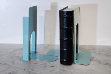 SOLD - Vintage Steel Book Ends in Tiffany Blue