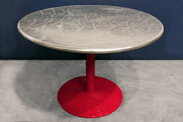 SOLD - Round Stainless Cafe Table on Red Aluminum Base, circa 1960s