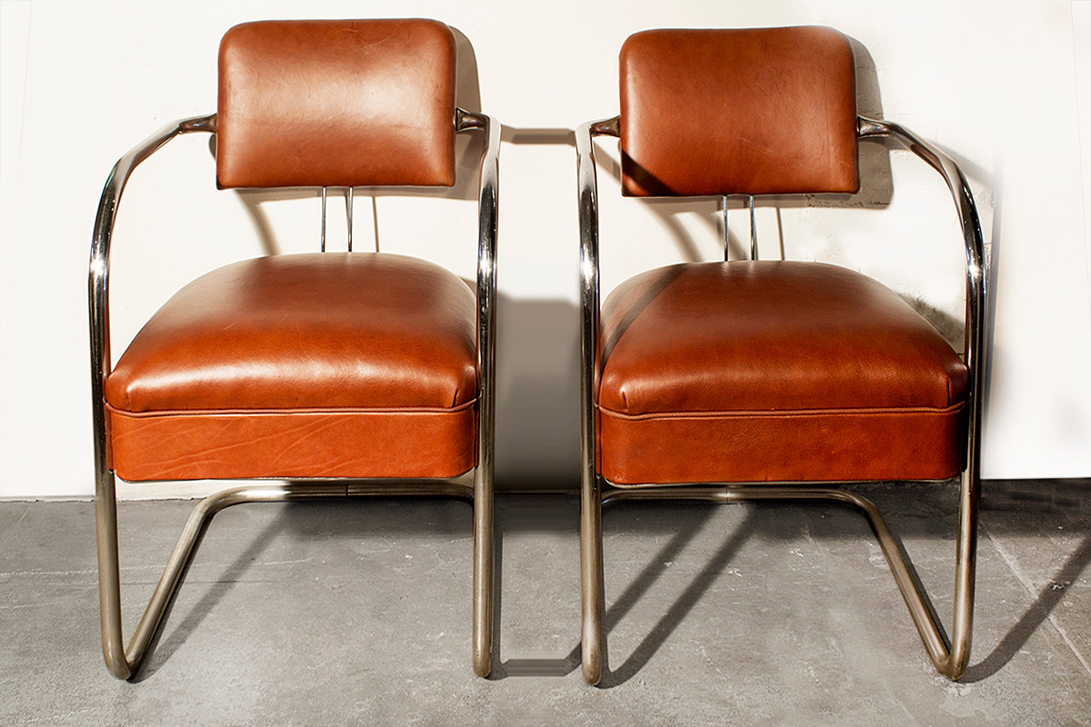Exceptional SOLD   Pair Of 1930s Chromcraft Cantilever Armchairs In Leather
