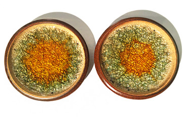 SOLD - Set of Two Robert Maxwell Glazed Stoneware Plates, circa 1965