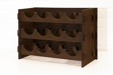 Arts & Crafts Style Wood Wine Rack, circa 1975
