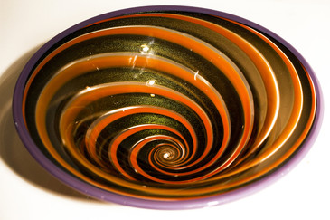 SOLD - Exquisite Gold Fleck and Orange Swirl Art Glass Bowl, Signed