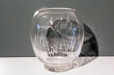 SOLD - Etched Vase with Wading Bird Motif, Signed
