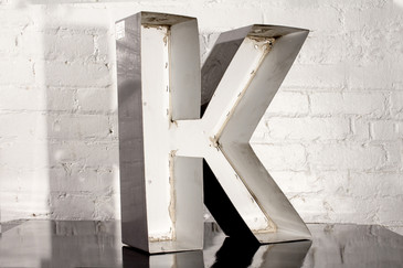 "SOLD - VINTAGE CHANNEL LETTER ""K"""