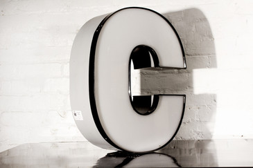 "JUMBO VINTAGE CHANNEL LETTER ""C"" IN WHITE"