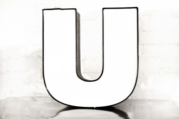 "Vintage Channel Letter ""U"" in White"