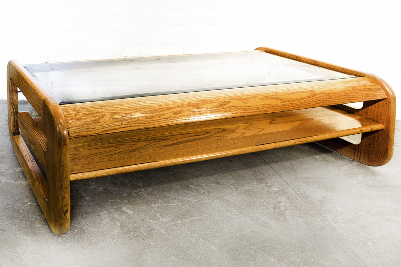 Mid Century Oak And Glass Coffee Table By Lou Hodges Rehab Vintage Interiors