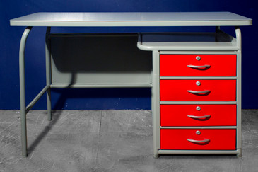 1950s Industrial School Desk by American Seating, Refinished