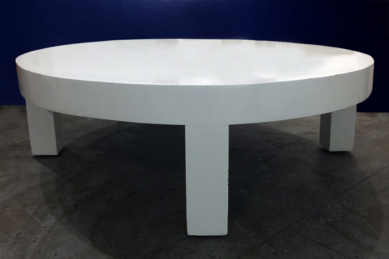 Sold White Lacquer Circular Coffee Table Rehab Vintage Interiors