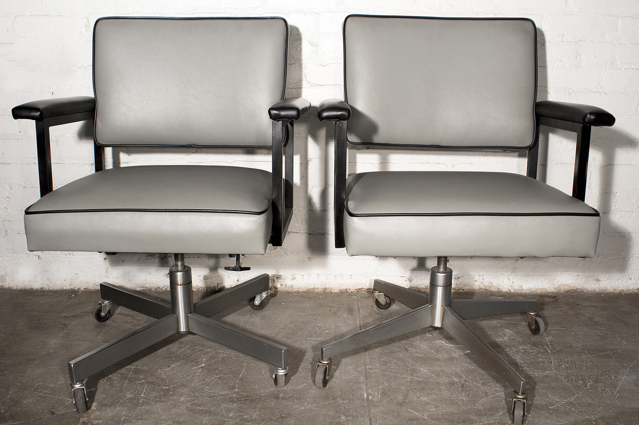 industrial office chair. SOLD - Pair Of 1970s SteelCase Industrial Office Chairs, Refinished Chair