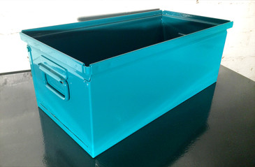 1940s Industrial Mail Bin, Refinished in Teal