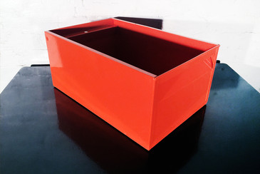1940s Industrial Storage Bin, Refinished in Orange