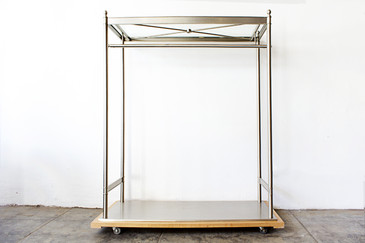 Nickel-Plated and Glass Clothes Rack on Wood Base