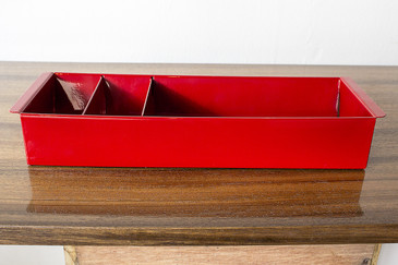 SOLD - Tanker Drawer Insert Repurposed as Desktop Organizer, Refinished in Red
