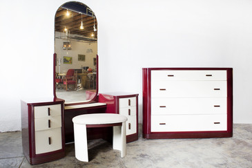Norman Bel Geddes Dresser and Vanity Bedroom Set, Refinished