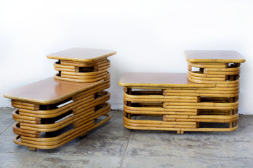 Pair of Paul Frankl Style Stacked Rattan Side Tables