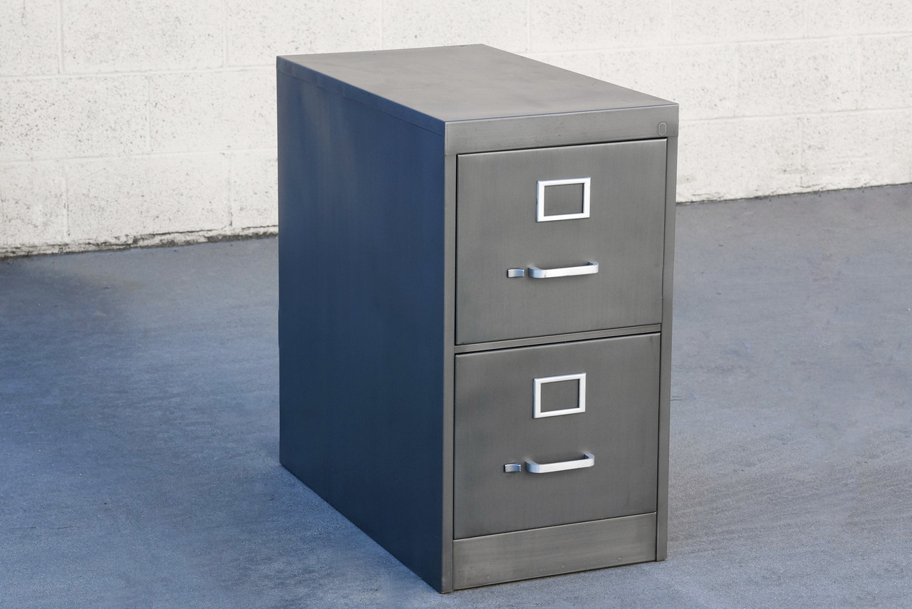 SOLD   1960s 2 Drawer Filing Cabinet Refinished In Natural Steel