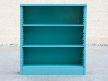 1960s Steel Bookcase Refinished in Turqouise