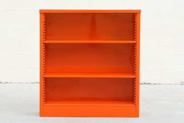 1960s Steel Bookcase in Orange, Custom Refinished