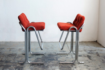 SOLD - Jerry Johnson Chrome Bar Stools, Pair, 1960s