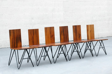 Set of Six Custom Modern Tiger Wood and Steel Dining Chairs