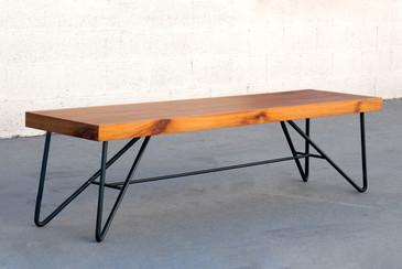 Custom Modern Tiger Wood and Steel Bench