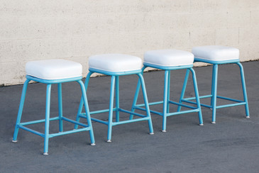 Set of 4 Machine Age Industrial Stools in Tiffany Blue