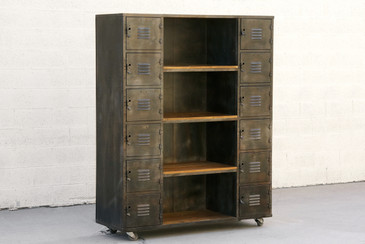 Two-Column Wood and Steel Locker Storage and Shelf Unit