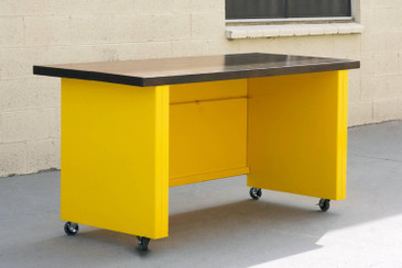 1950s Steel Workbench Table with Ebonized Maple Top