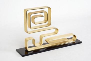 """Dan Murphy Modernist Brass Sculpture, """"Confusion,"""" 1976"""