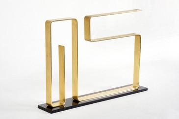 """Dan Murphy Modernist Brass Sculpture, """"Neon,"""" 1976"""