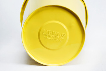1940s Lit-Ning Products Steel Trash Can Refinished in Yellow