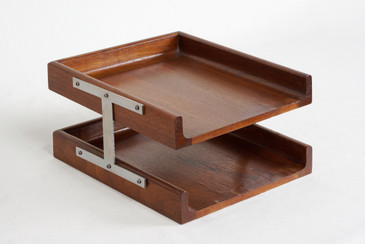 1960s Two-Tier Walnut Paper Tray
