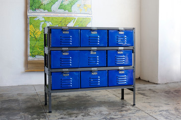 3 x 3 Vintage Locker Basket Unit with Royal Blue Drawers
