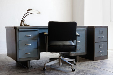 1950s Steelcase Tanker, Double Pedestal - REFINISHED TO ORDER