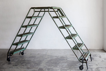 SOLD - Vintage Industrial Double Ladder on Casters