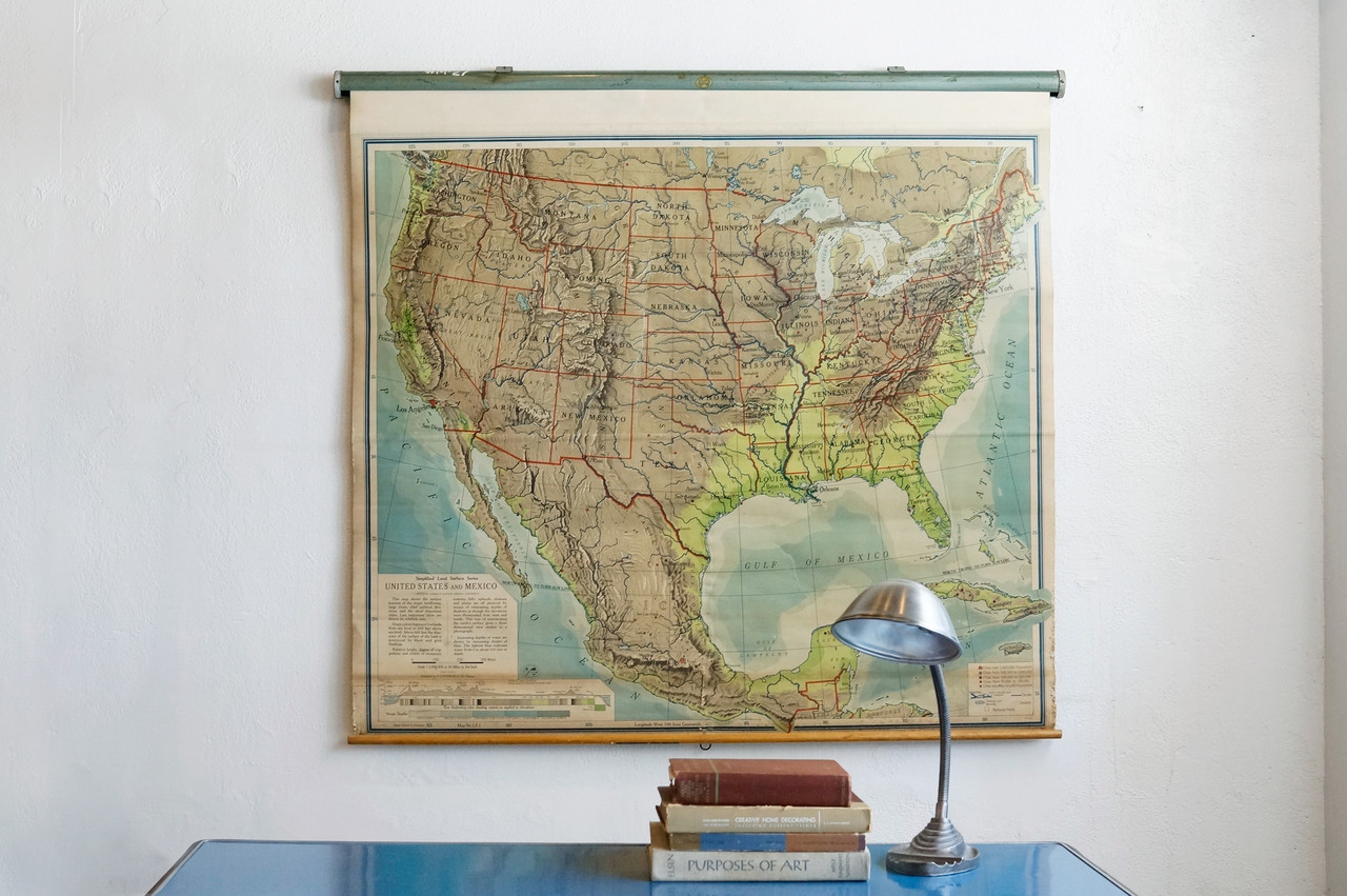 sold vintage pull down map united states and mexico 1960s