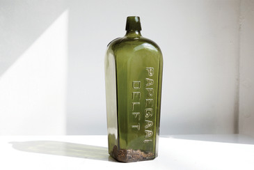 SOLD - Papegaai Delft, 19th c. Dutch Gin Green Glass Bottle