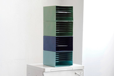 SOLD - Mid Century Stackable File Holders, Refinished