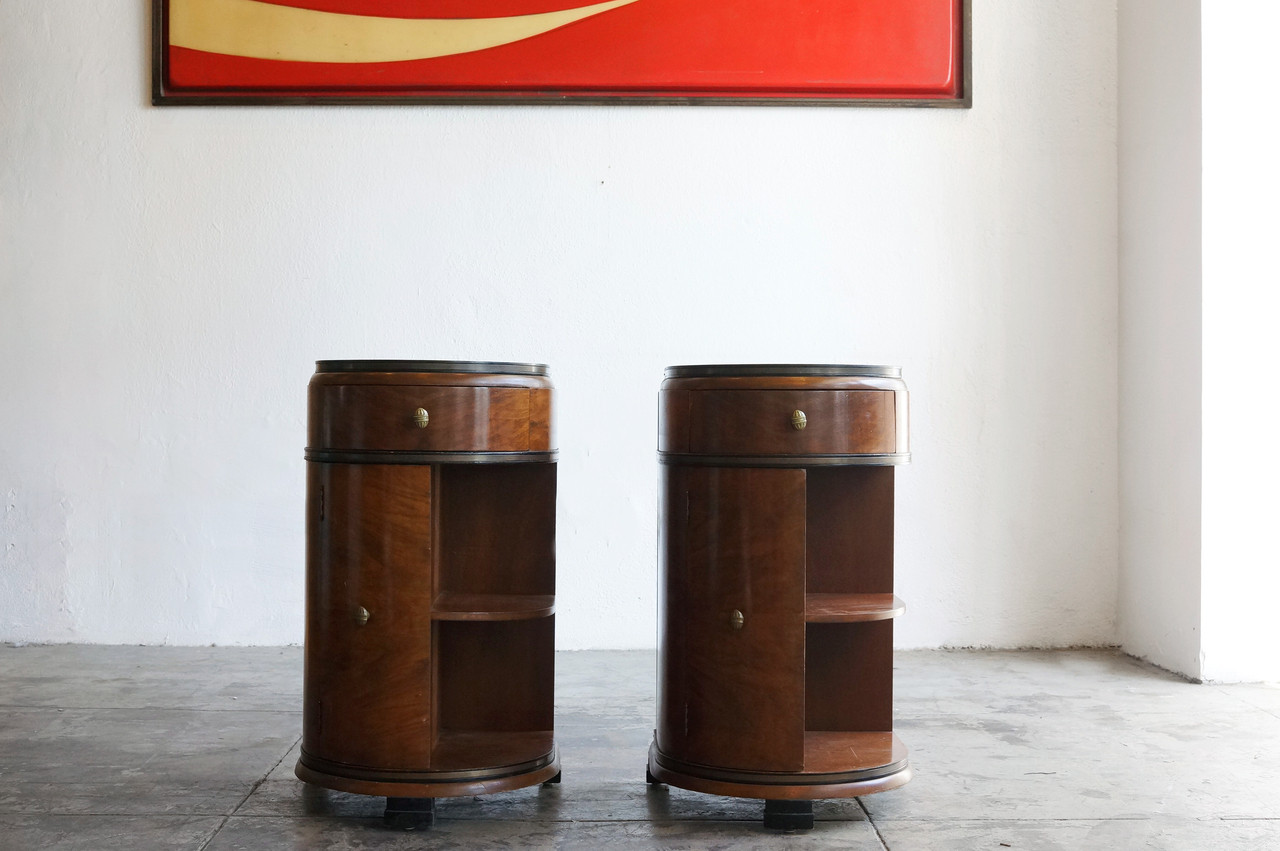 SOLD   Streamlined Art Deco End Tables By Rockford, C. 1930s