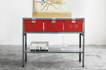 3 x 3 Vintage Locker Basket Unit with Shelf, Refinished in Red