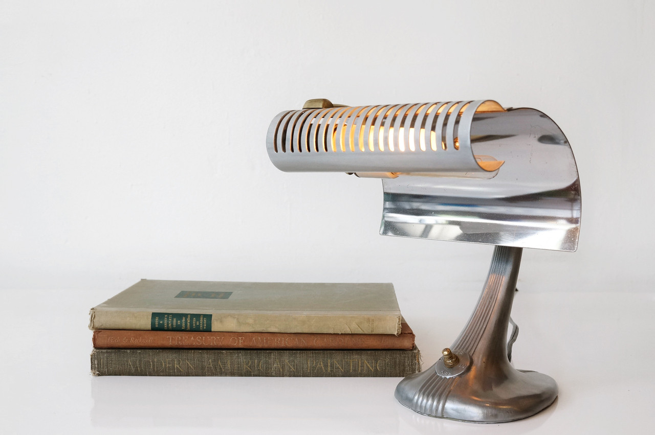industrial table lamp by mercolite science refinished image 1