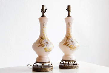 SOLD - West German Milk Glass Table Lamps with Deco Brass Base