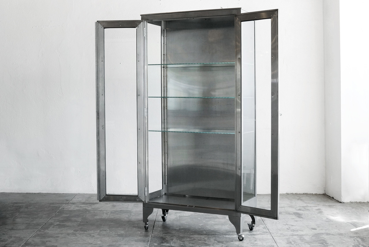 SOLD   Stainless Steel Medical Cabinet, C. 1960s
