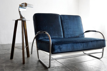 1930s Tubular Chrome Loveseat, Refinished