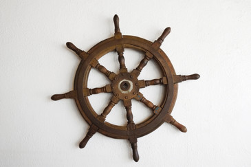SOLD - Antique Ship's Wheel, Teak Wood, c. Late 19th