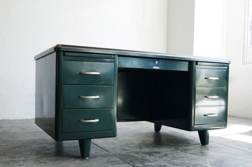 SOLD - McDowell Craig Deco Style Tanker Desk, Refinished