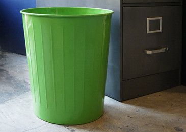 SOLD - Vintage Steel Waste Basket, Refinished